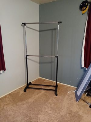Mainstays Adjustable 2-Tier Rolling Garment Rack, Adjustable Design for Sale in Hesperia, CA