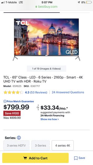 65 inch TV for sale for KQLED for Sale in Lake Worth, FL