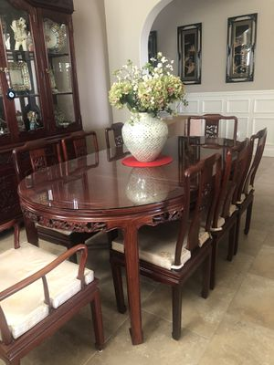 """80"""" Rosewood Dining table with 8 chairs dragon design and chair cushions for Sale in Manteca, CA"""