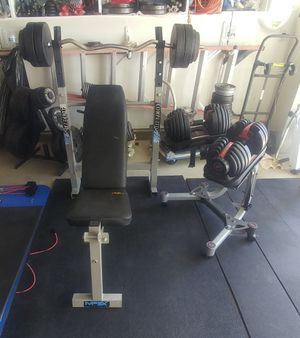 Mpex Bench press with rack, bar, 100 for Sale in Elk Grove, CA