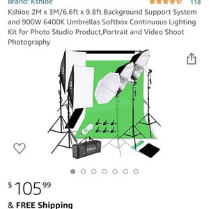 Kshioe 2M x 3M/6.6ft x 9.8ft Background Support System and 900W 6400K Umbrellas Softbox Continuous Lighting Kit for Photo Studio Product,Portrait and for Sale in Irwindale, CA