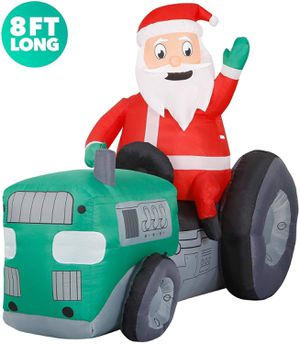 8 ft Inflatable Christmas Tractor Santa riding farm machine Outdoor, Christmas Decorations w LED Lights for Sale in Houston, TX