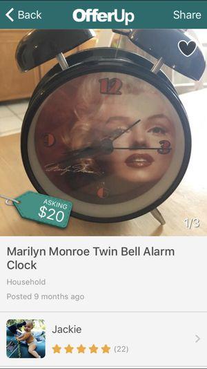 Marilyn Monroe Twin Bell Alarm Clock for Sale in Clearwater, FL