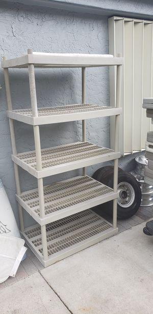Rack shelves home depot 5 layer msrp 49.99 storage racks plastic shevling garage post for Sale in Pompano Beach, FL