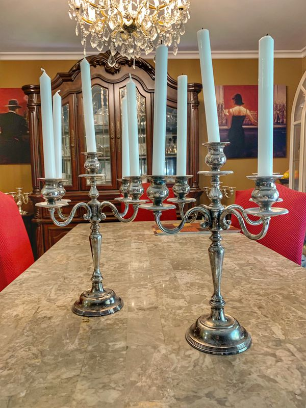 Heavy antique candle holder silver candelabra