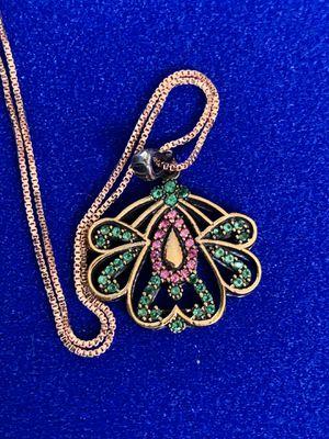 Artisan Ruby Emerald Topaz Lotus Pendant Rose Gold Italian Necklace Chain for Sale in Nashville, TN
