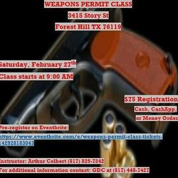 Weapons Permit Class for Sale in Fort Worth,  TX
