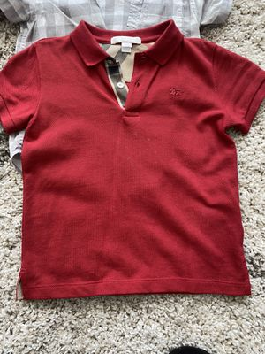 Polo Burberry red size 4y Burberry chekered short sleeve shirt size 4y for Sale in Oakley, CA