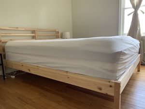 MOVING! Wooden Queen Bed - FRAME + HEADBOARD ONLY for Sale in Frederick, MD