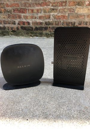 Belkin n150 wireless router and Netgear n300 WiFi cable modem router for Sale in Chicago, IL