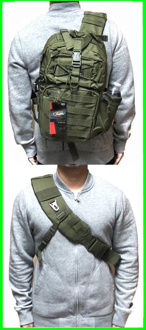 NEW! Tactical Military Style Backpack Sling Side Crossbody Bag gym bag work bag travel luggage school bag molle camping hiking biking OD Green for Sale in Carson, CA