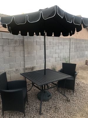 Metal and wicker patio furniture with umbrella for Sale in Phoenix, AZ