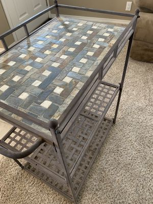 Rust color solid metal heavy cart with slate tile top for Sale in Wenatchee, WA
