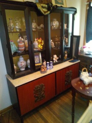 Antique Oriental China Cabinet With A Marble Top Very Heavy Gold Peacock Handles on the bottom Cabinet for Sale in Parma, OH