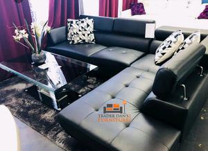Brand new black leather sectional sofa couch for Sale in Silver Spring, MD