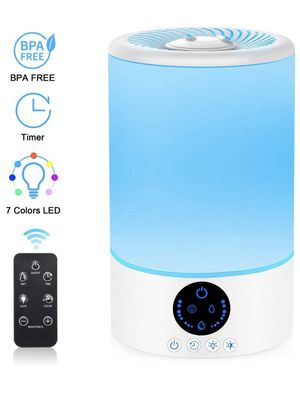 Cool Mist Humidifier, 3L Top Fill Ultrasonic Humidifier for Bedroom with 7 Colors Night Light and Remote Control, Adjustable Mist Levels, Optional Ti for Sale in Orlando, FL