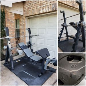 Squat Rack Home Gym w/ Dumbbell Rack & Weights. CAN DELIVER. PRICE FIRM. READ POST. for Sale in Houston, TX