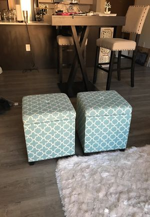 Cute Turquoise Storage Ottomans (2) for Sale in Boston, MA