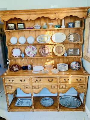 English pine farmhouse cupboard china cabinet breakfront buffet for Sale in Kensington, MD