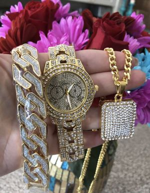 New 18 k yellow gold Cuban link chain, bracelet and watch for Sale in Sunrise, FL