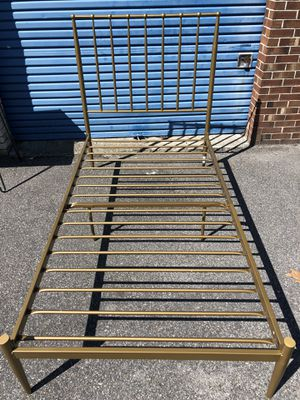 Gold twin metal bed frame for Sale in Virginia Beach, VA