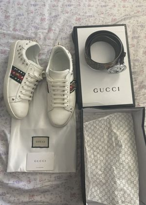 GUCCI STUDDED SHOES & TIGER PRINT BELT OG AUTHENTIC, LIKE NEW!! for Sale in Miami, FL