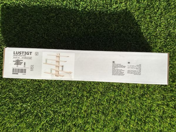 Ikea Lustigt Adj.Ladder Wooden Wall Shelf NIB