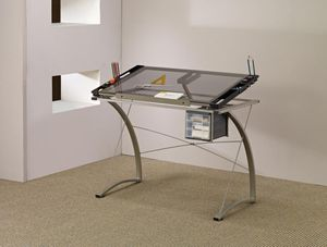 Drafting table with clear glass top with side storage for Sale in La Puente, CA