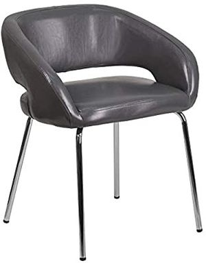 Contemporary Gray LeatherSoft Side Reception Chair Perfect Home Office Furniture for Sale in Los Angeles, CA