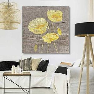 ((FREE SHIPPING)) square canvas wall art - yellow poppy wood effect canvas - giclee print gallery wrap modern home decor Painting like print for Sale in Kentfield, CA