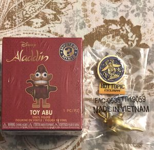 New Funko Disney Aladdin Toy Abu, Magic Lamp Keychain and Pin $5 for all for Sale in Spring Hill, FL