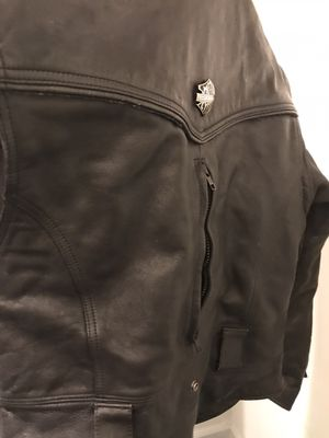 Harley Davidson leather black biker jacket medium/large for Sale in Decatur, GA