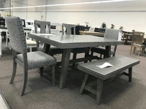 6 Piece Solid Wood Dining Set, Grey Finish for Sale in Santa Ana, CA