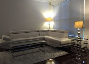 White Leather Sectional & Glass Coffee Tables for Sale in Herndon, VA