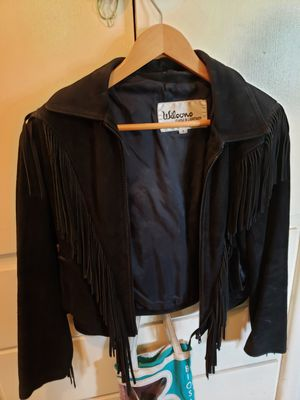 Black Fringe Suede Jacket for Sale in Tacoma, WA