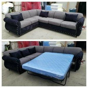 NEW 7X9FT CHARCOAL MICROFIBER SECTIONAL WITH SLEEPER COUCHES for Sale in Vista, CA