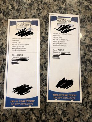 Scarlxrd concert tickets (25 each) for Sale in Clackamas, OR