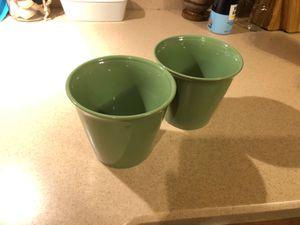 Ceramic Flower Pots (2)- Green for Sale in Fair Oaks, PA