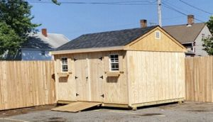 New T1-11 Wood 10' x 14' Shed for Sale in Rehoboth, MA