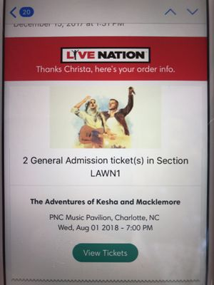 2 General Admission Lawn Seats, Macklemore and Kesha for TONIGHT for Sale in Charlotte, NC