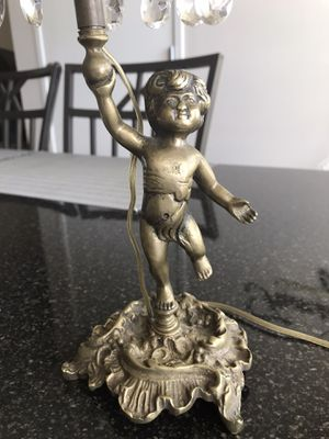 ANTIQUE CAST IRON TORCH BOY ART STATUE LAMP BRONZE SCONCE SHADE for Sale in Naperville, IL