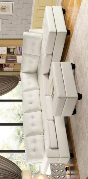 Heights white reversible sectional with storage ottoman for Sale in Houston, TX
