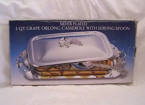 Silver Plated 3 Qt Grape Oblong Casserole With Serving Spoon for Sale in Damascus, MD