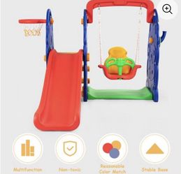 Costway 3 in 1 Junior Children Climber Slide Swing Seat Basketball Hoop Playset Backyard for Sale in Los Angeles,  CA