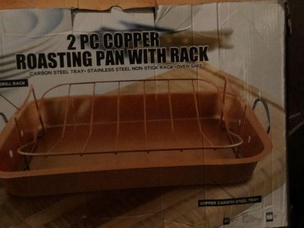 2 pc copper roasting pan w/rack