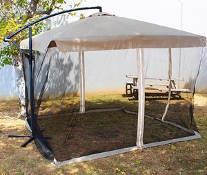 New in box $80 Tan 8'x8' ft Square Offset Umbrella Patio Outdoor Hanging Shade Crank lift w/ Mesh net for Sale in Pico Rivera, CA