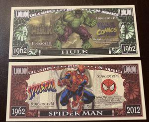Hulk and spider-man million dollar bills for Sale in Sanger, CA