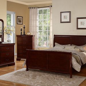 Bedroom Set 5 Pcs CHERRY . Frame Queen , Nightstand , Chest , Mirrow And Dresser . New. Especial Price for Sale in Anaheim, CA