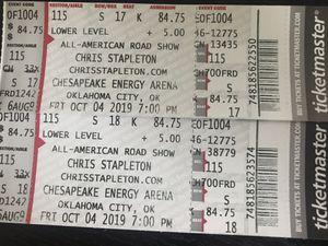Chris Stapleton Tickets 10/04/19 OKC Section 115 Row S (Aisle Seats) for Sale in Broken Arrow, OK