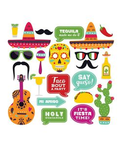 Fully Assembled Fiesta Photo Booth Props. 30 Piece Box Set of Mexican Fiesta, Taco Party Decorations Kit. Colorful Cinco De Mayo Selfie Party Supplies for Sale in Neenah,  WI